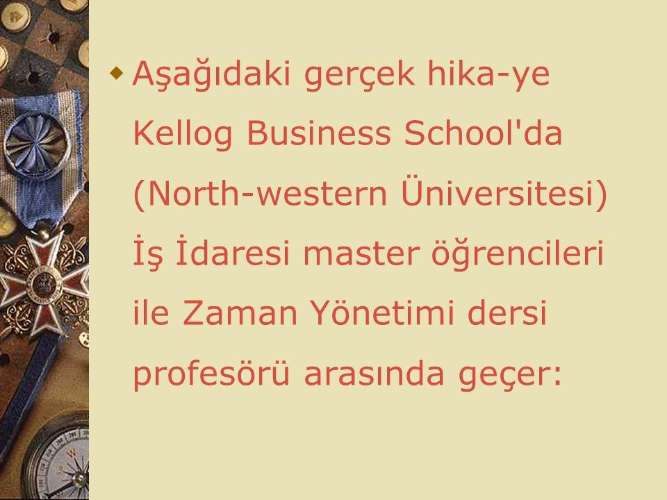 Aşağıdaki gerçek hika-ye Kellog Business School da (North-western Üniversitesi) İş İdaresi master öğrencileri ile Zaman Yönetimi dersi profesörü arasında geçer: