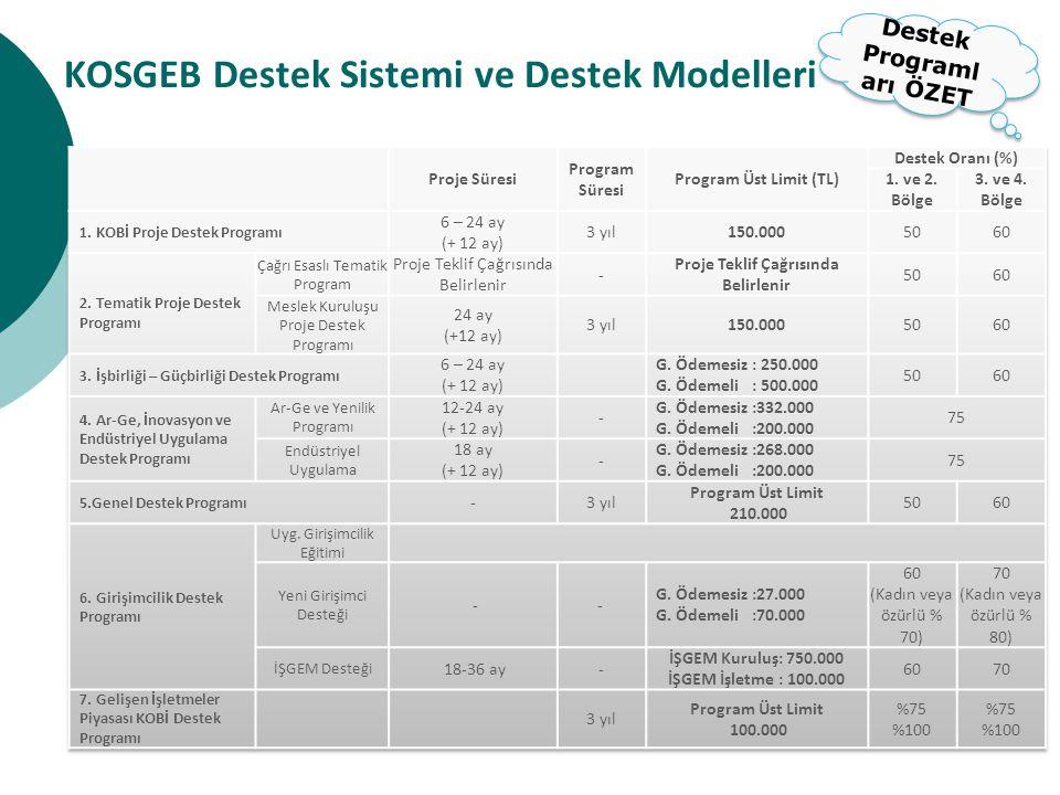 KOSGEB Destek Sistemi ve Destek Modelleri