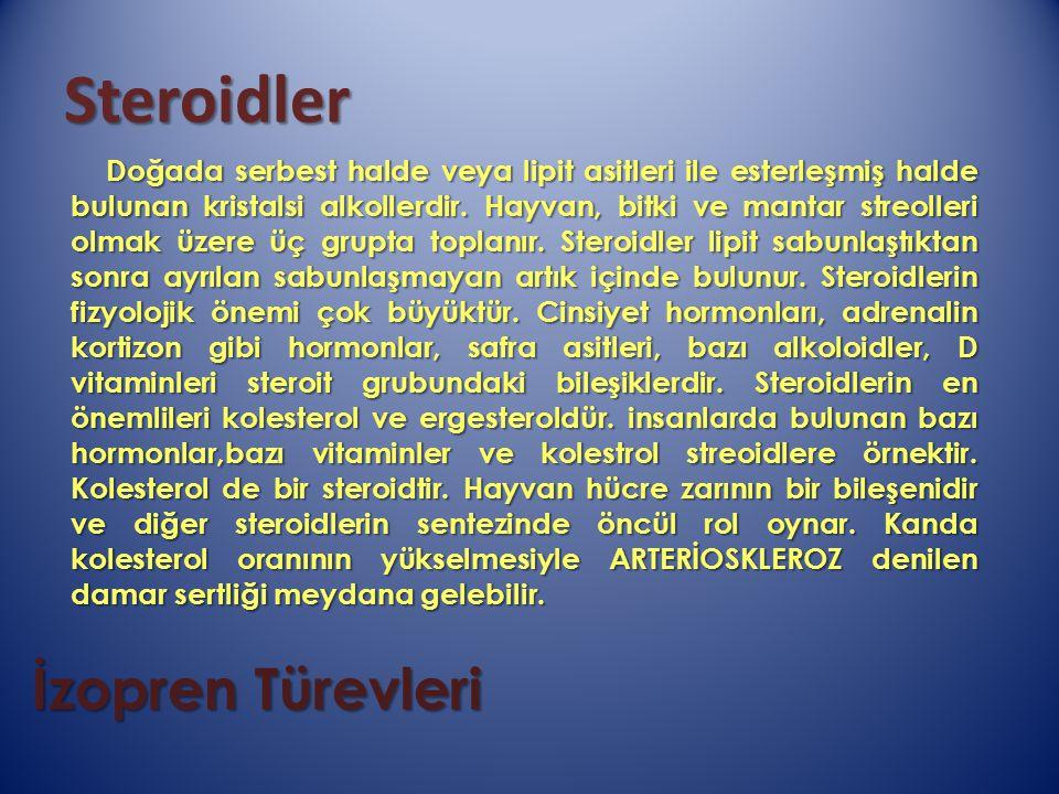 Steroidler İzopren Türevleri