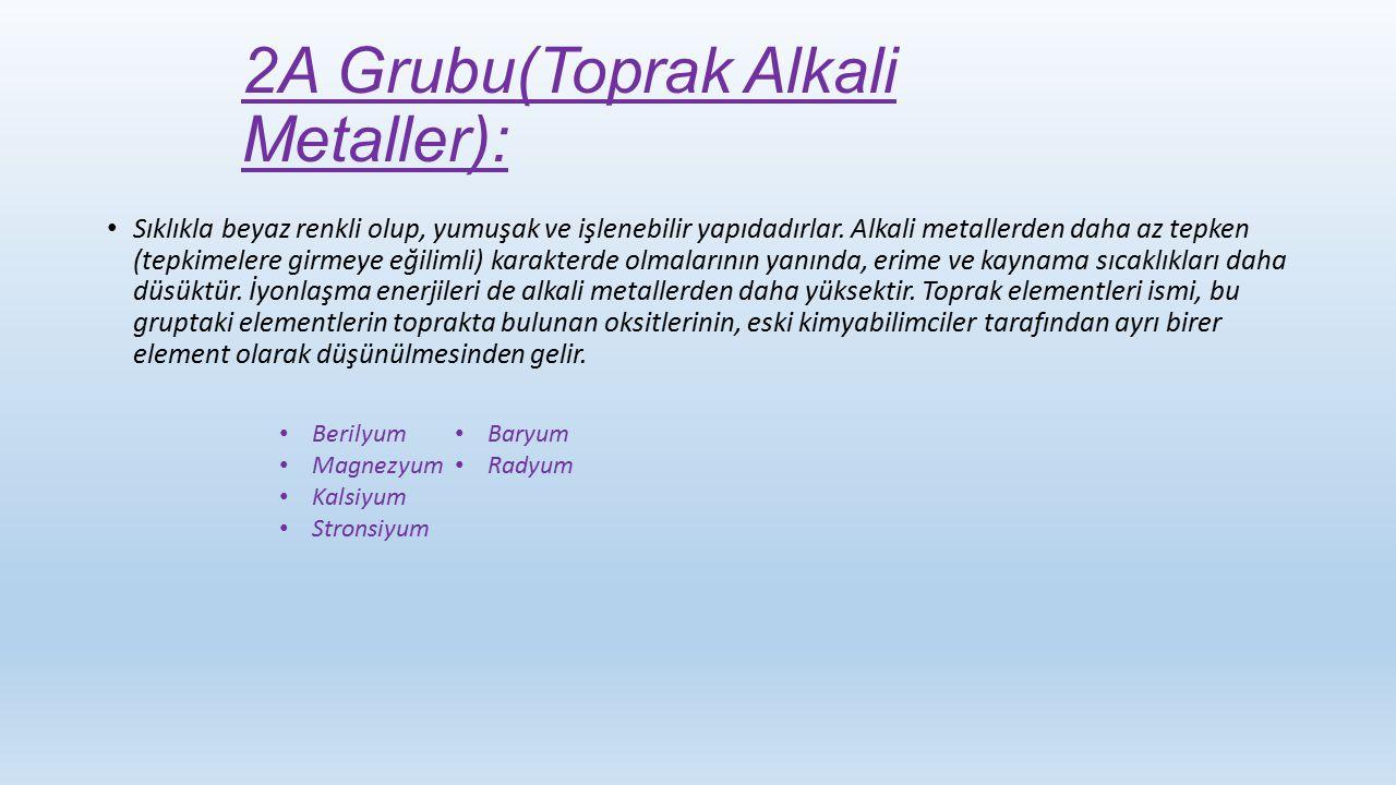 2A Grubu(Toprak Alkali Metaller):