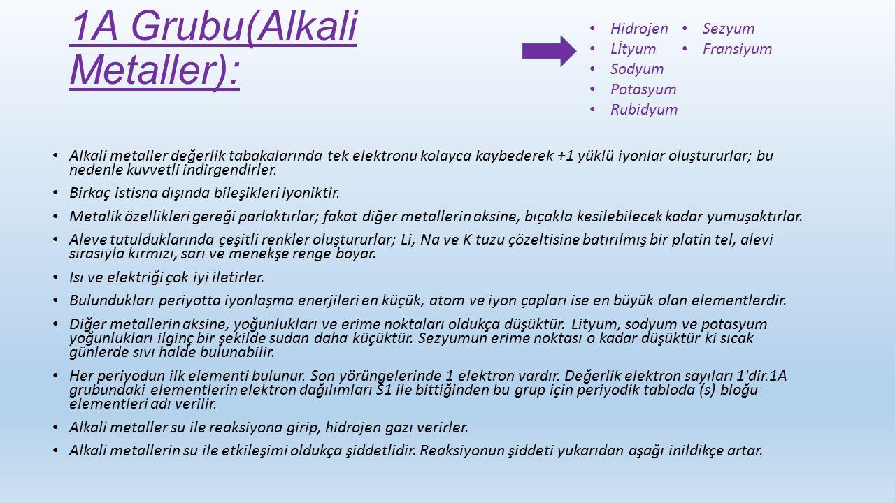 1A Grubu(Alkali Metaller):