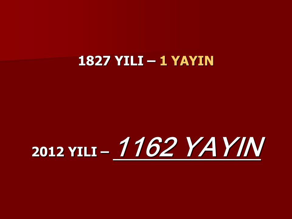 1827 YILI – 1 YAYIN 2012 YILI – 1162 YAYIN