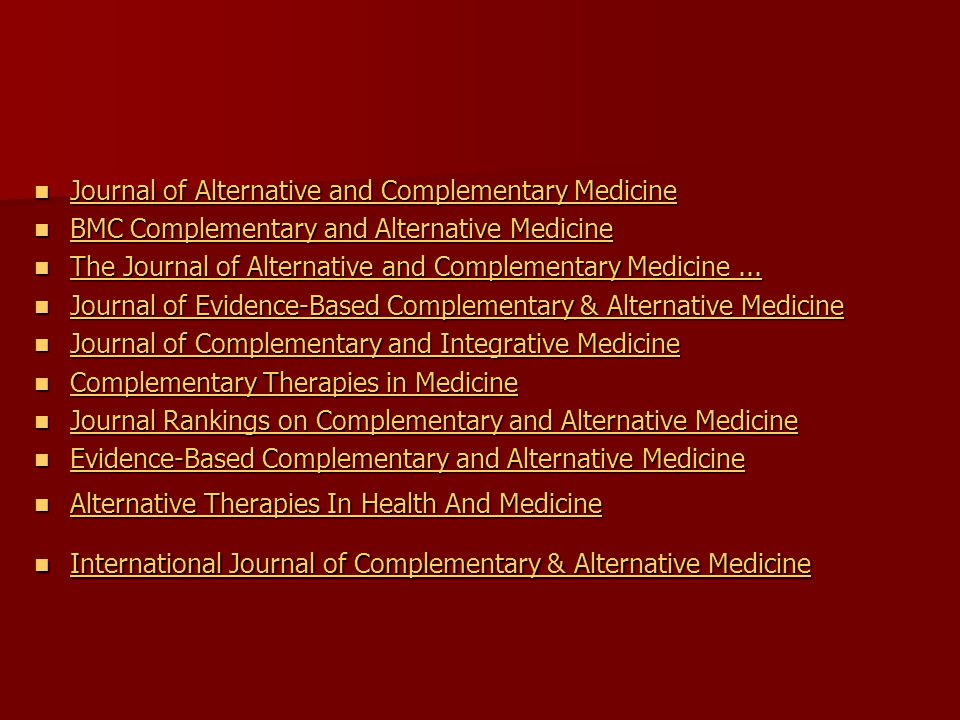 Journal of Alternative and Complementary Medicine