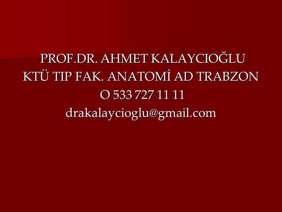 PROF.DR. AHMET KALAYCIOĞLU KTÜ TIP FAK. ANATOMİ AD TRABZON