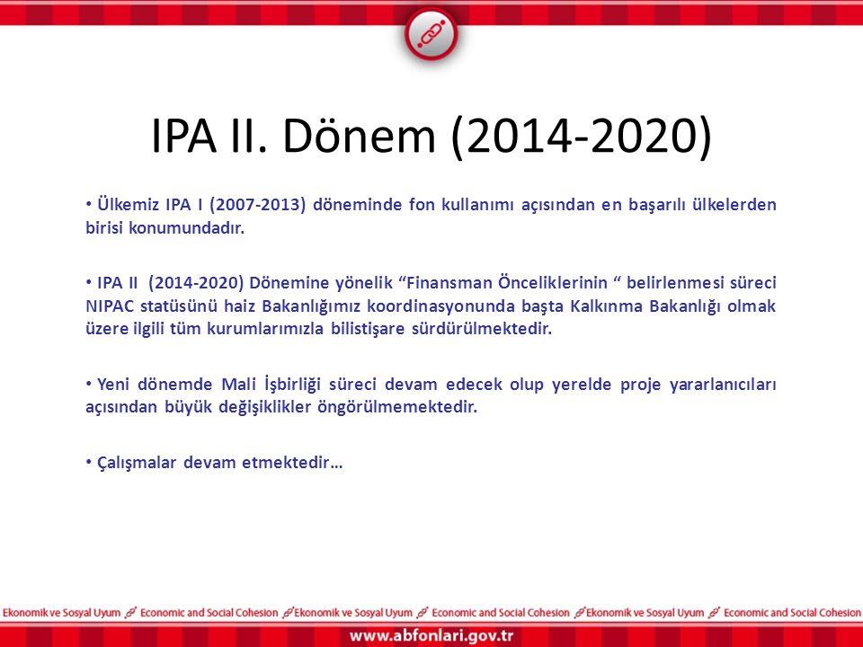 IPA II. Dönem (2014-2020) Ülkemiz IPA I (2007-2013) döneminde fon kullanımı açısından en başarılı ülkelerden birisi konumundadır.
