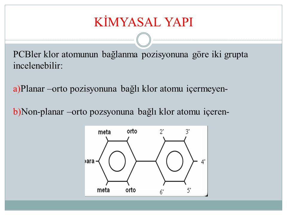 KİMYASAL YAPI PCBler klor atomunun bağlanma pozisyonuna göre iki grupta incelenebilir: a)Planar –orto pozisyonuna bağlı klor atomu içermeyen-
