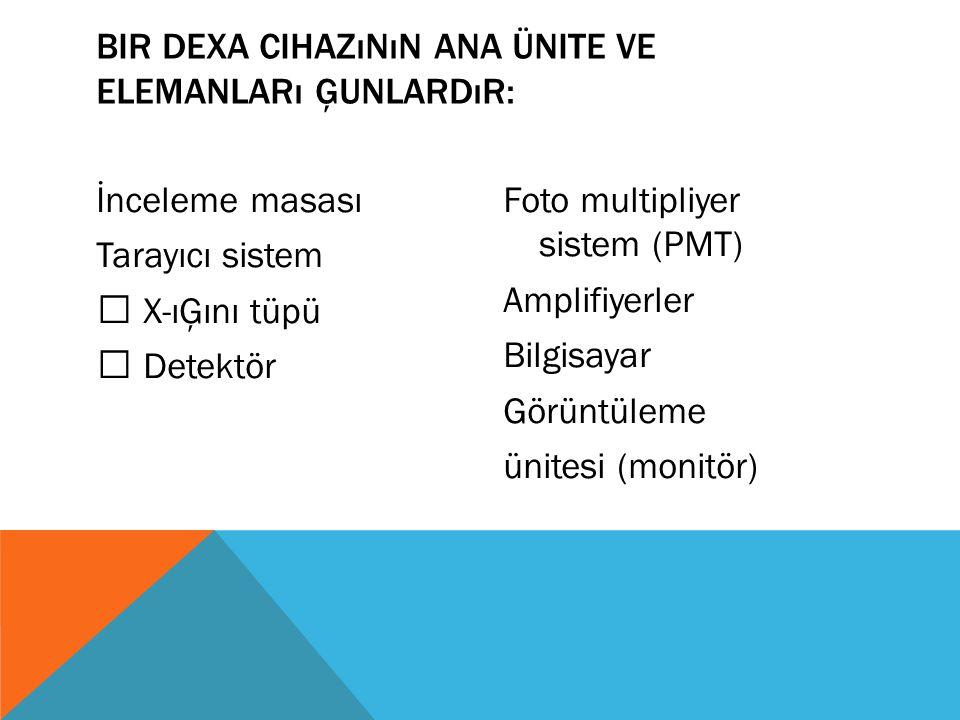 Bir DEXA cihazının ana ünite ve elemanları Ģunlardır: