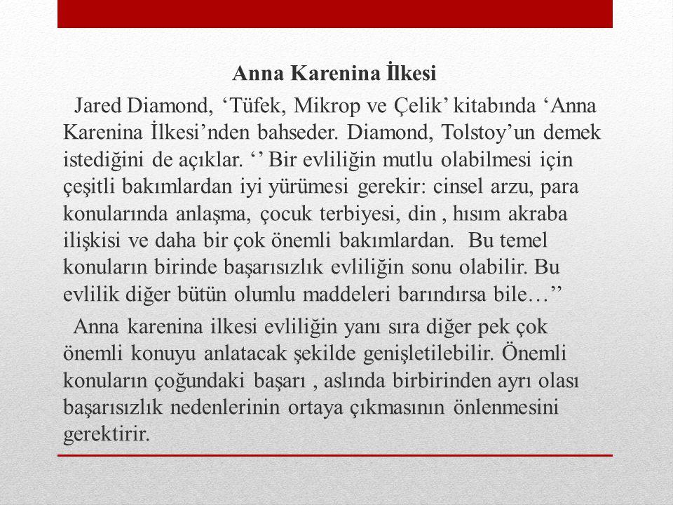 Anna Karenina İlkesi Jared Diamond, 'Tüfek, Mikrop ve Çelik' kitabında 'Anna Karenina İlkesi'nden bahseder.