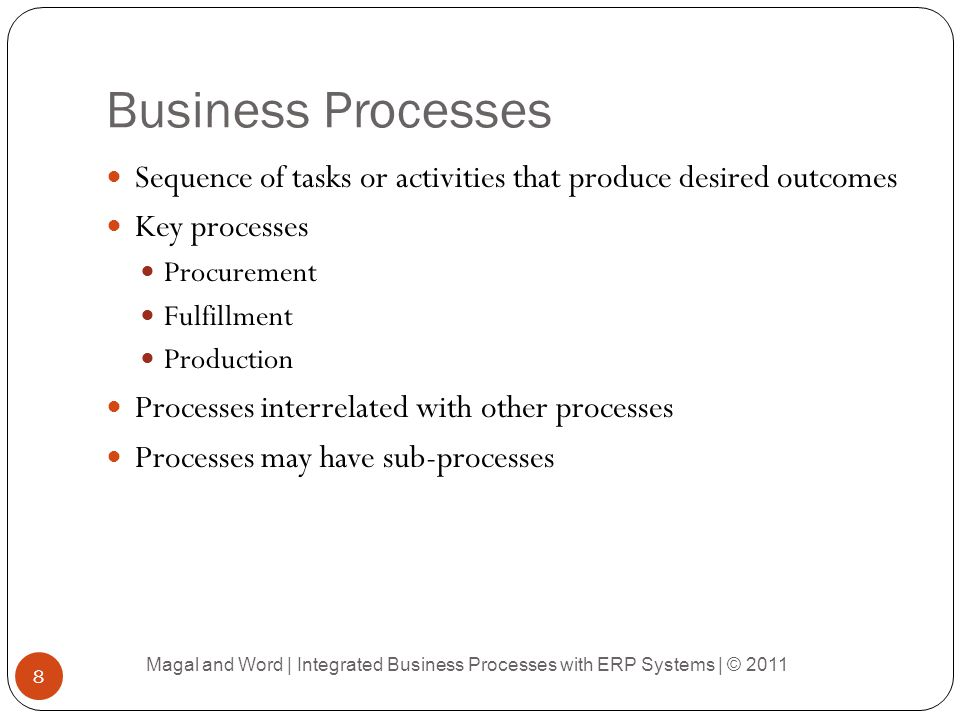 Business Processes Sequence of tasks or activities that produce desired outcomes. Key processes. Procurement.