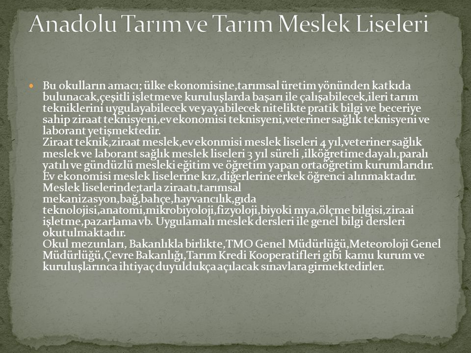 Anadolu Tarım ve Tarım Meslek Liseleri