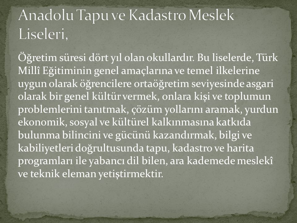 Anadolu Tapu ve Kadastro Meslek Liseleri,