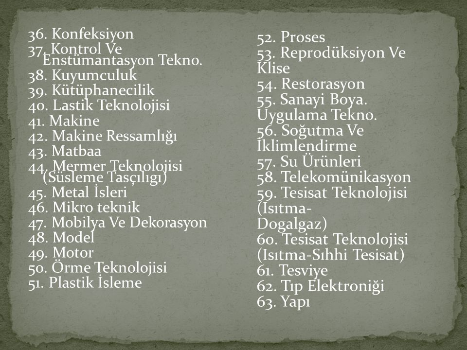 53. Reprodüksiyon Ve Klise 54. Restorasyon