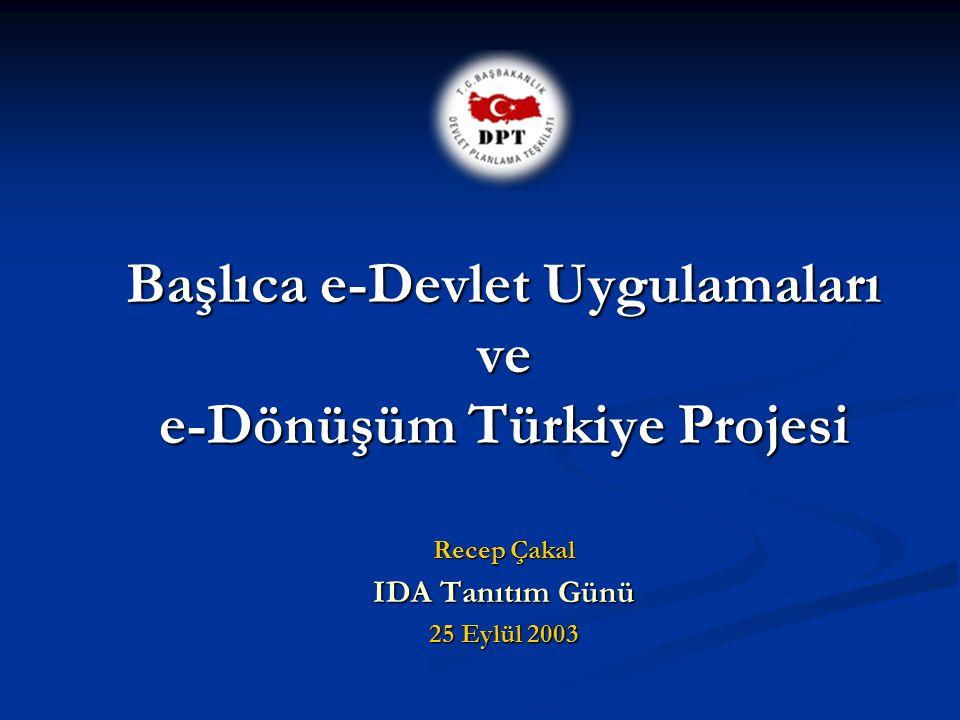Başlıca e-Devlet Uygulamaları ve e-Dönüşüm Türkiye Projesi