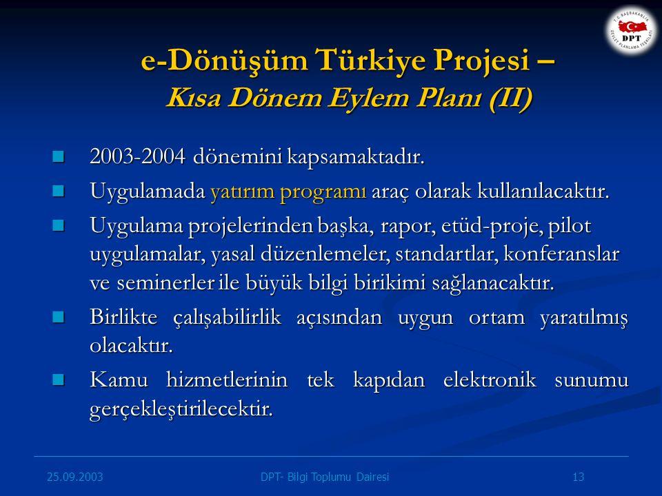 e-Dönüşüm Türkiye Projesi – Kısa Dönem Eylem Planı (II)