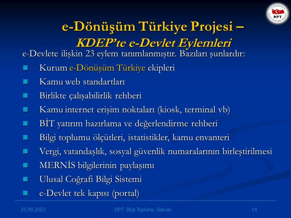e-Dönüşüm Türkiye Projesi – KDEP'te e-Devlet Eylemleri