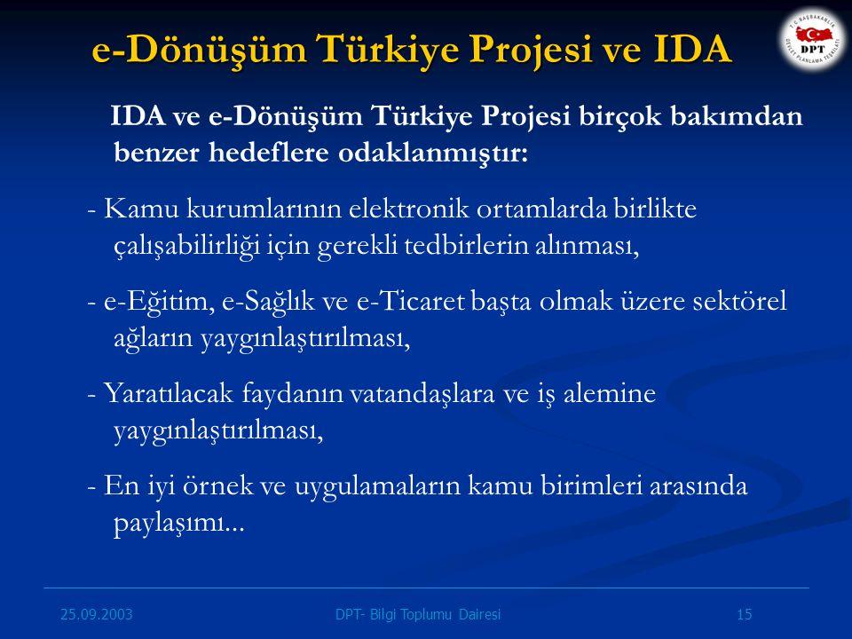 e-Dönüşüm Türkiye Projesi ve IDA