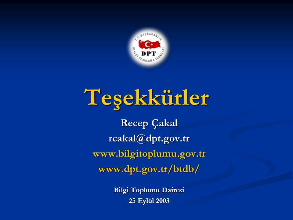 Teşekkürler Recep Çakal rcakal@dpt.gov.tr www.bilgitoplumu.gov.tr