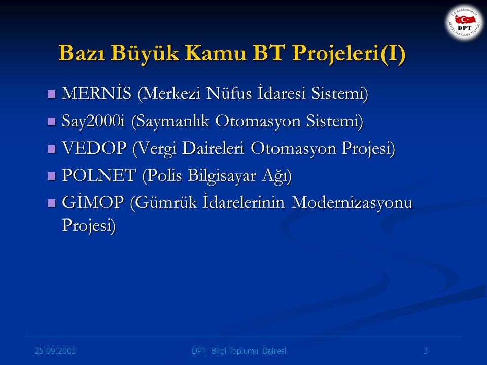 Bazı Büyük Kamu BT Projeleri(I)