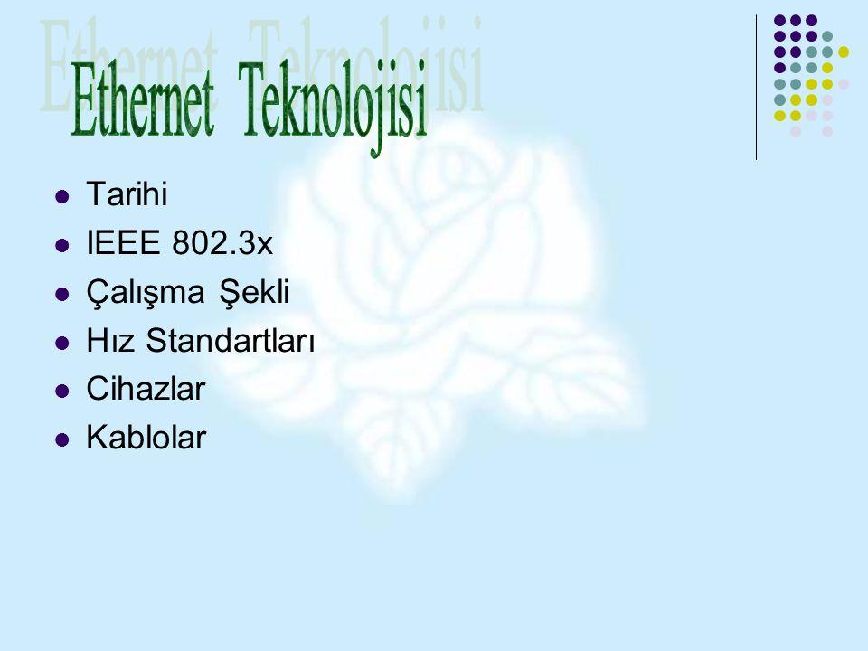 Ethernet Teknolojisi Tarihi IEEE 802.3x Çalışma Şekli Hız Standartları