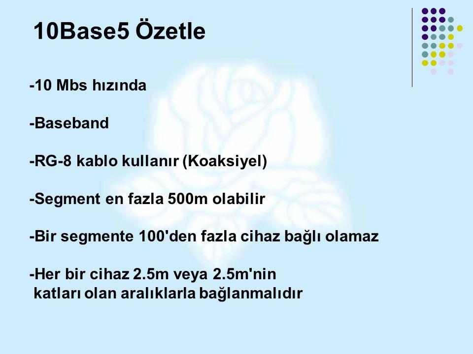 10Base5 Özetle -10 Mbs hızında -Baseband