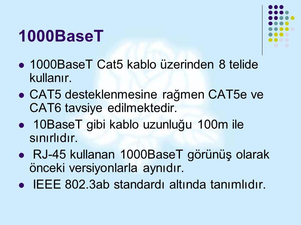 1000BaseT 1000BaseT Cat5 kablo üzerinden 8 telide kullanır.