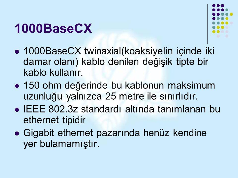 1000BaseCX 1000BaseCX twinaxial(koaksiyelin içinde iki damar olanı) kablo denilen değişik tipte bir kablo kullanır.