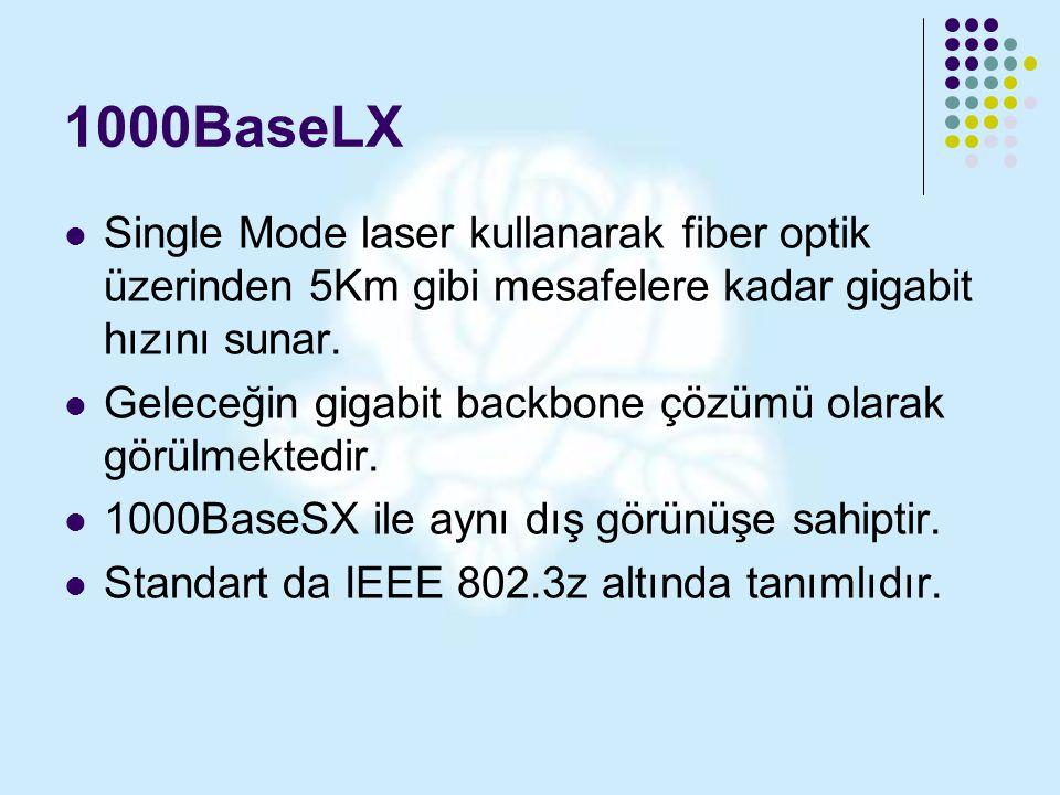 1000BaseLX Single Mode laser kullanarak fiber optik üzerinden 5Km gibi mesafelere kadar gigabit hızını sunar.
