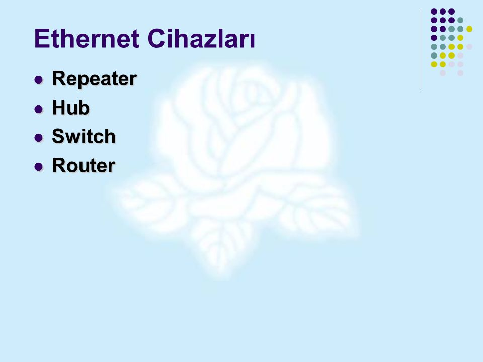 Ethernet Cihazları Repeater Hub Switch Router