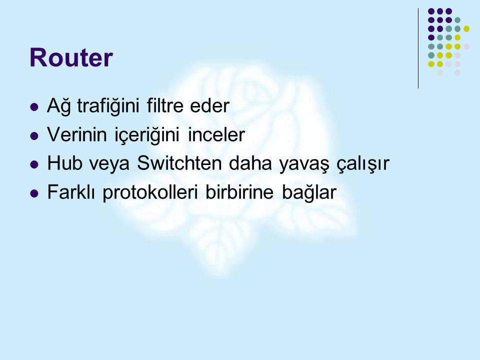 Router Ağ trafiğini filtre eder Verinin içeriğini inceler
