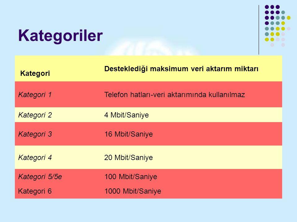 Kategoriler Kategori Desteklediği maksimum veri aktarım miktarı