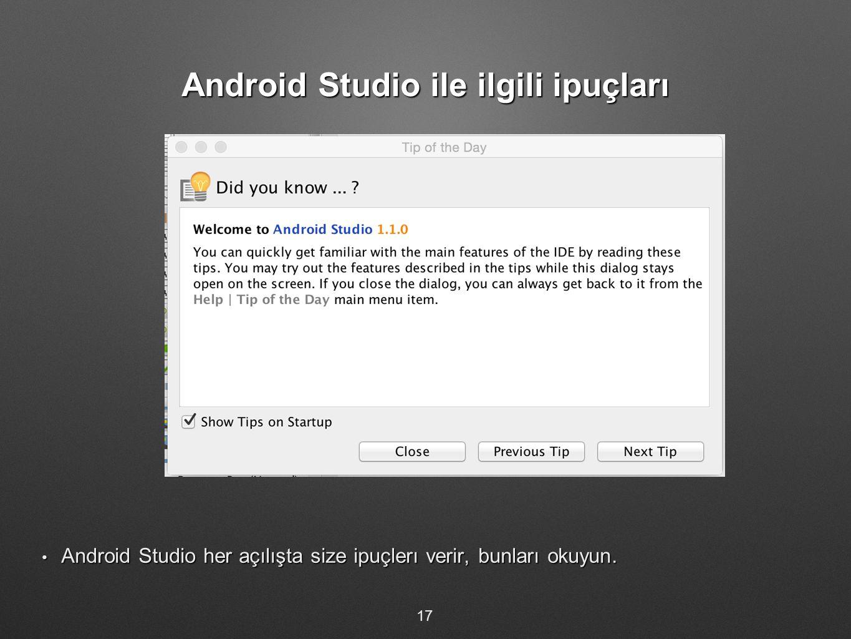 Android Studio ile ilgili ipuçları