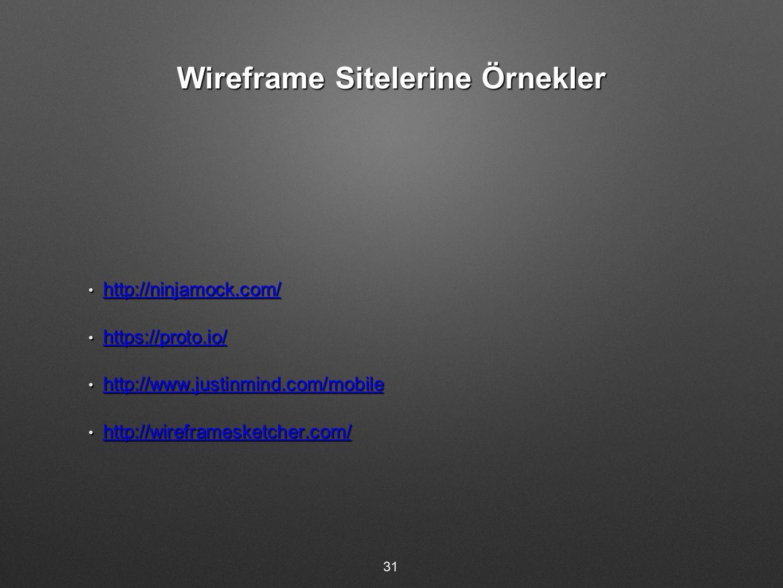 Wireframe Sitelerine Örnekler