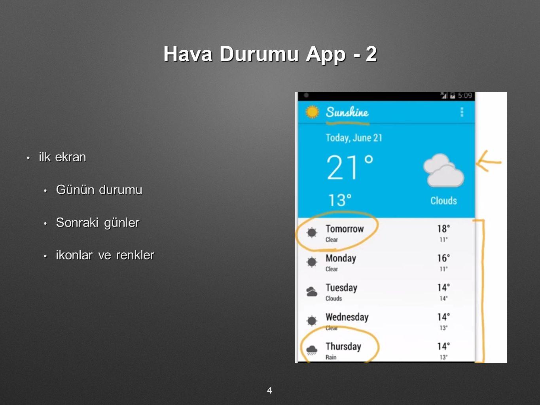 Hava Durumu App - 2 ilk ekran Günün durumu Sonraki günler
