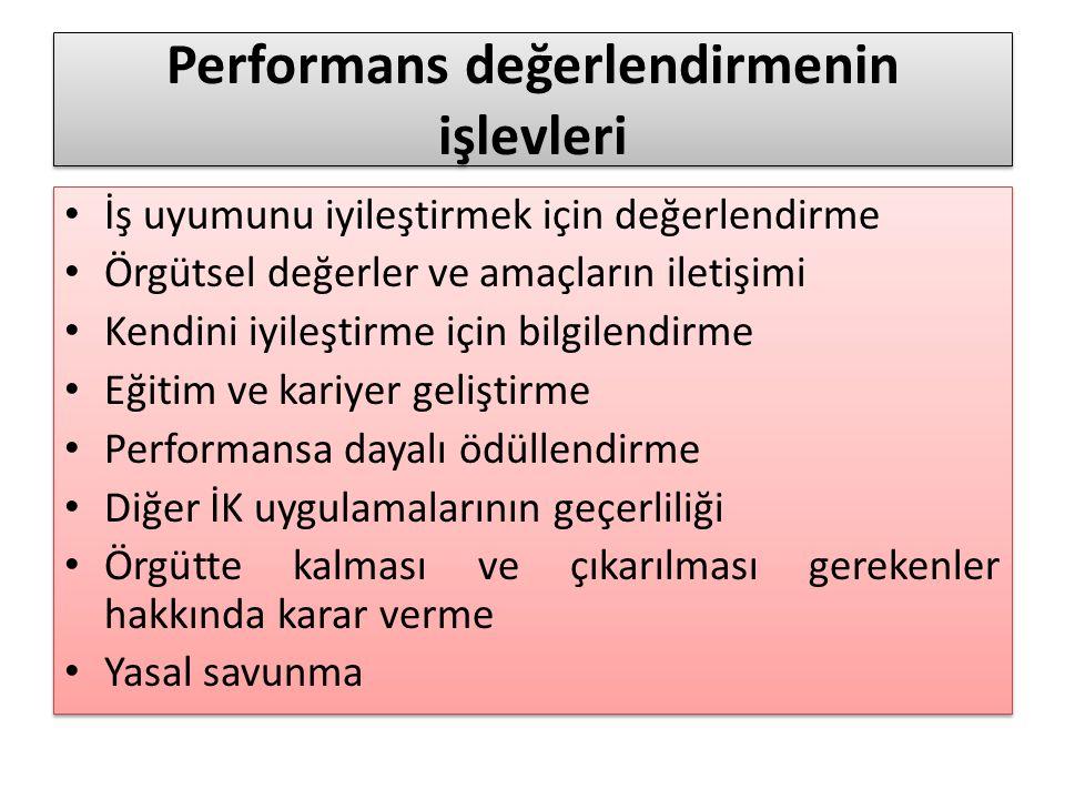 Performans değerlendirmenin işlevleri