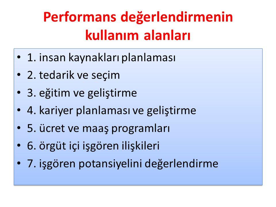 Performans değerlendirmenin kullanım alanları
