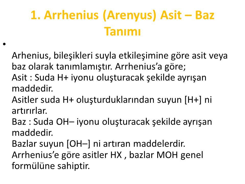 1. Arrhenius (Arenyus) Asit – Baz Tanımı