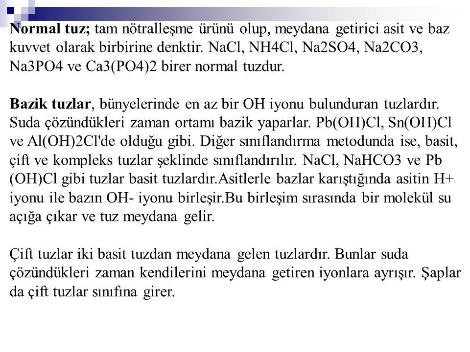 Normal tuz; tam nötralleşme ürünü olup, meydana getirici asit ve baz kuvvet olarak birbirine denktir. NaCl, NH4Cl, Na2SO4, Na2CO3, Na3PO4 ve Ca3(PO4)2 birer normal tuzdur.