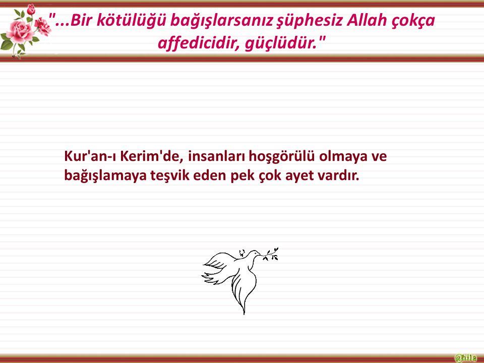 ...Bir kötülüğü bağışlarsanız şüphesiz Allah çokça affedicidir, güçlüdür.