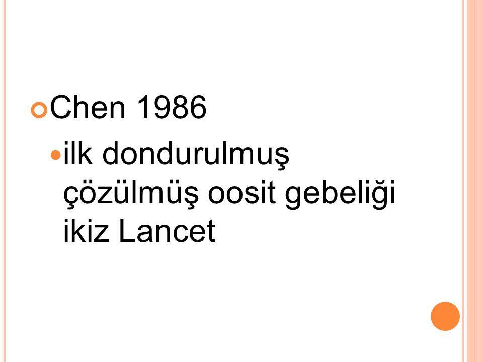 Chen 1986 ilk dondurulmuş çözülmüş oosit gebeliği ikiz Lancet