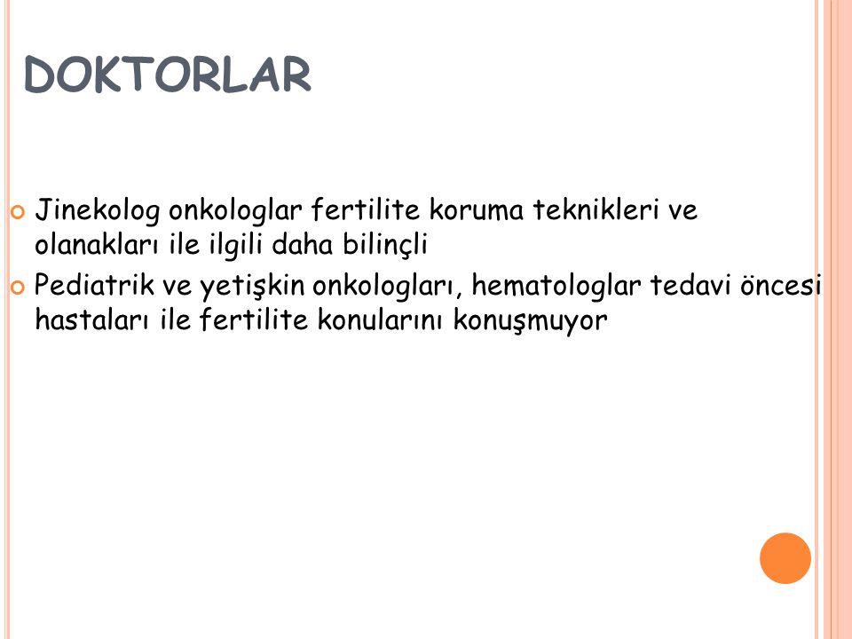 DOKTORLAR Jinekolog onkologlar fertilite koruma teknikleri ve olanakları ile ilgili daha bilinçli.