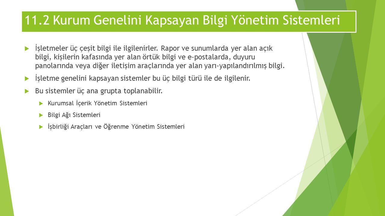 11.2 Kurum Genelini Kapsayan Bilgi Yönetim Sistemleri