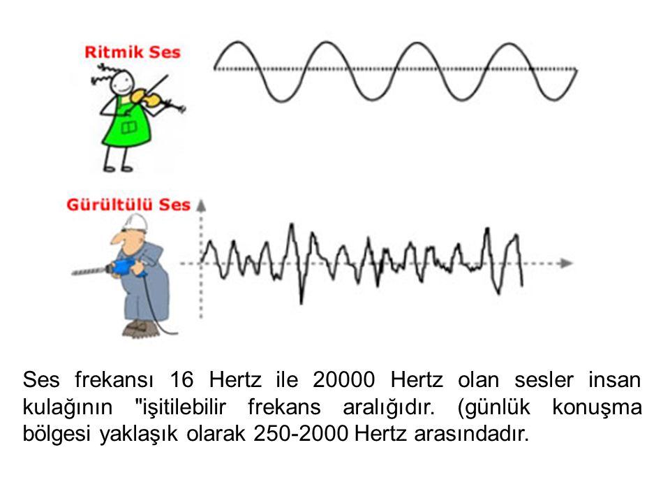 Ses frekansı 16 Hertz ile 20000 Hertz olan sesler insan kulağının işitilebilir frekans aralığıdır.