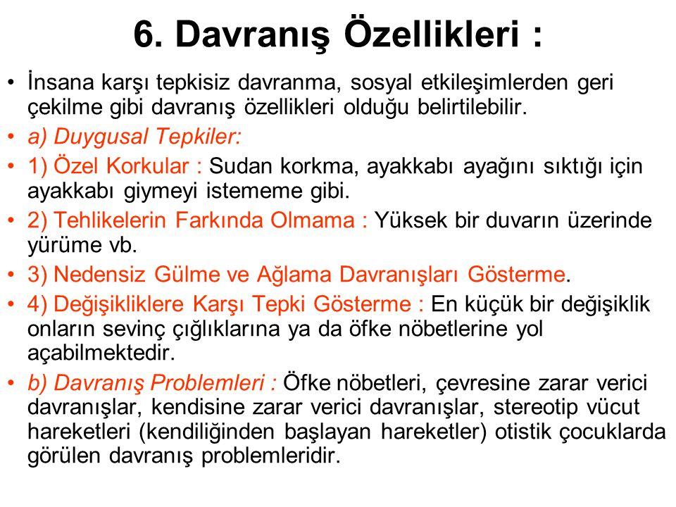 6. Davranış Özellikleri :