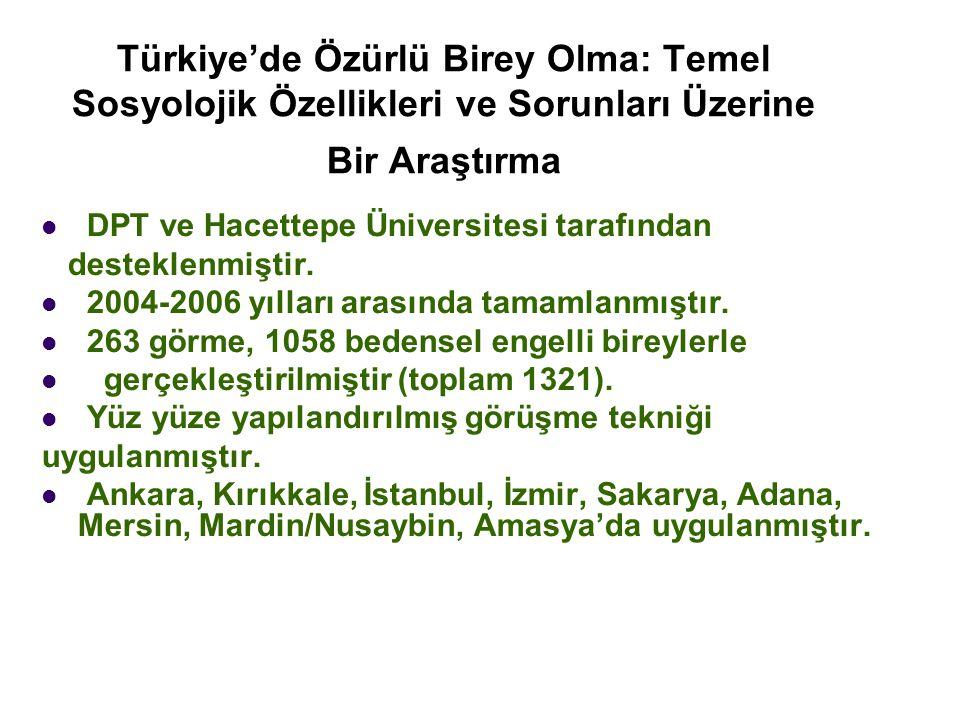 Türkiye'de Özürlü Birey Olma: Temel Sosyolojik Özellikleri ve Sorunları Üzerine Bir Araştırma