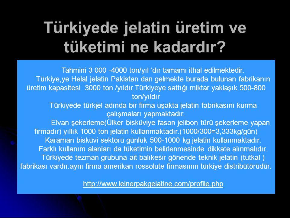 Türkiyede jelatin üretim ve tüketimi ne kadardır