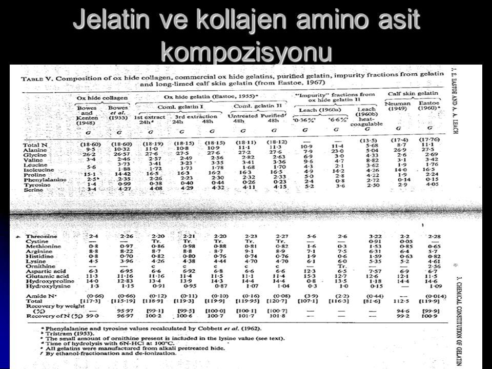 Jelatin ve kollajen amino asit kompozisyonu