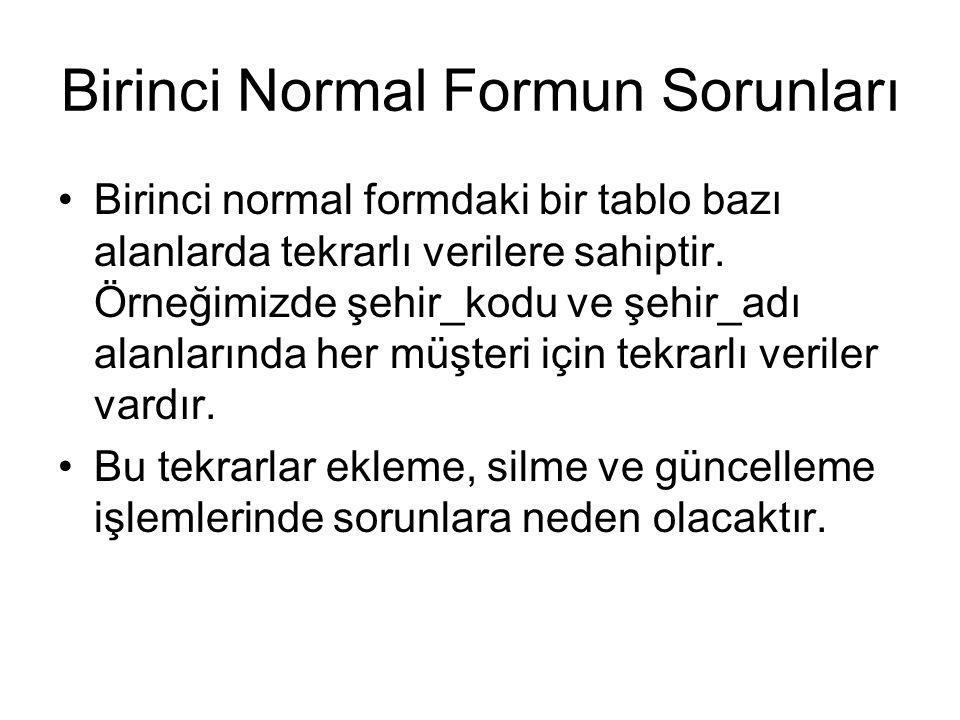 Birinci Normal Formun Sorunları
