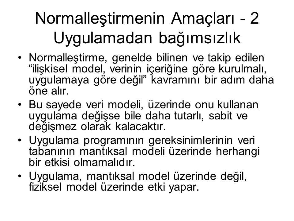 Normalleştirmenin Amaçları - 2 Uygulamadan bağımsızlık