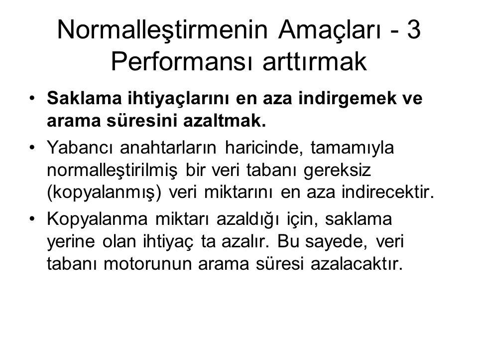 Normalleştirmenin Amaçları - 3 Performansı arttırmak