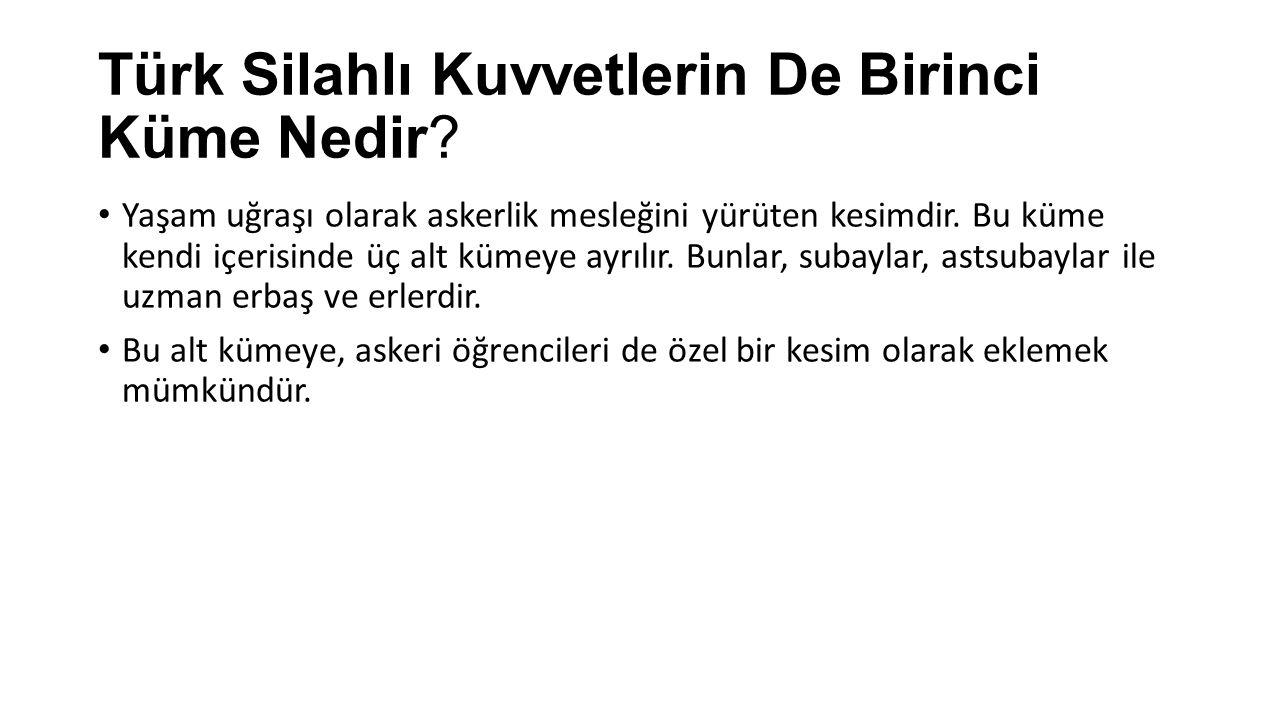 Türk Silahlı Kuvvetlerin De Birinci Küme Nedir
